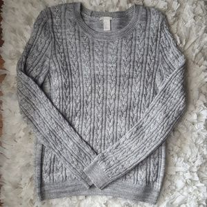 H&M grey cable knit sweater